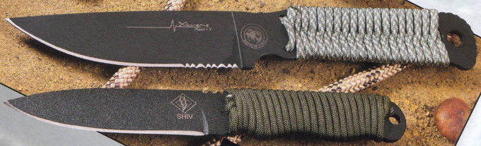 Cord wrapped knives Alaska Extreme model V review and Ontario Ranger Shiv knife review