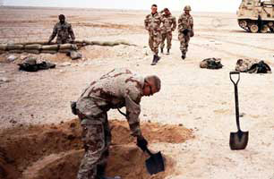 Soldier Digging Fox Hole